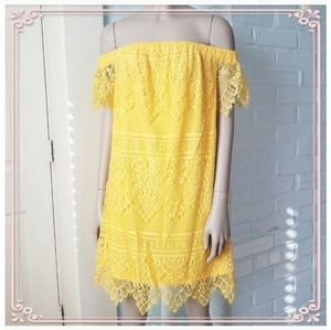Rue 21 Yellow All Over Lace Off Shoulder dress NEW